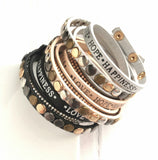 Vegan Leather Wrap Bracelet - love hope happiness - rhinestone and stud - multicolor choose flat black, silver grey, metallic beige - adjustable snap - Live Your Best Life - Constant Baubling