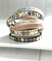 Vegan Leather Wrap Bracelet - love hope happiness - rhinestone and stud - multicolor choose flat black, silver grey, metallic beige - adjustable snap - Live Your Best Life