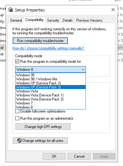 Windows Compatibility Mode Properties