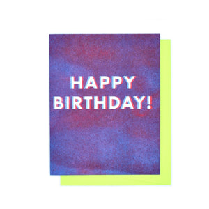 """3D"" Happy Birthday Risograph Greetings Card - Next Chapter Studio"