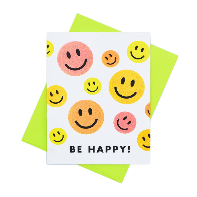Be Happy! Smiley Face Card - Risograph Greeting Card - Next Chapter Studio