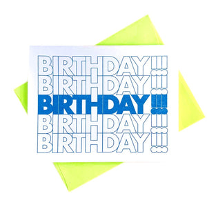 """BIRTHDAY!!!"" Bag - Risograph Greeting Card - Next Chapter Studio"