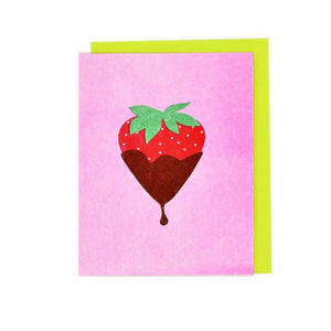 Candy Cards: Chocolate Covered Strawberry Risograph Card - Next Chapter Studio