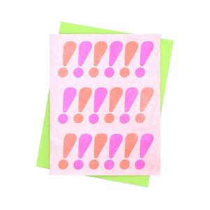 Exclamations Card - Neon Risograph Greeting Card - Next Chapter Studio