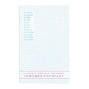 """Flexible Monthly Calendar"" - 6 Month Risograph Planner - Next Chapter Studio"