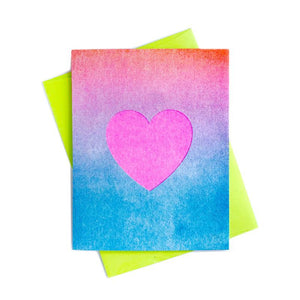 Gradient Heart - Risograph Greeting Card - Next Chapter Studio