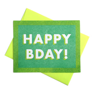 Green Happy Bday - Risograph Happy Birthday Card - Next Chapter Studio