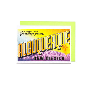 Greetings from: Albuquerque, NM - Risograph Card - Next Chapter Studio