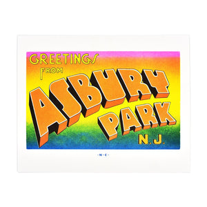 Greetings from: Asbury Park, New Jersey Risograph Print - Next Chapter Studio