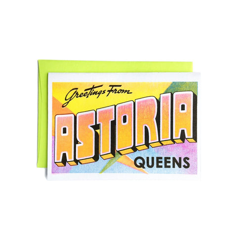 Greetings from: Astoria, Queens - Risograph Card - Next Chapter Studio