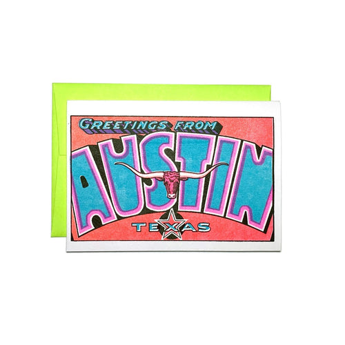 Greetings from: Austin, Texas - Risograph Card - Next Chapter Studio
