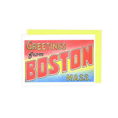 Greetings from: Boston, Massachusetts Risograph Card - Next Chapter Studio