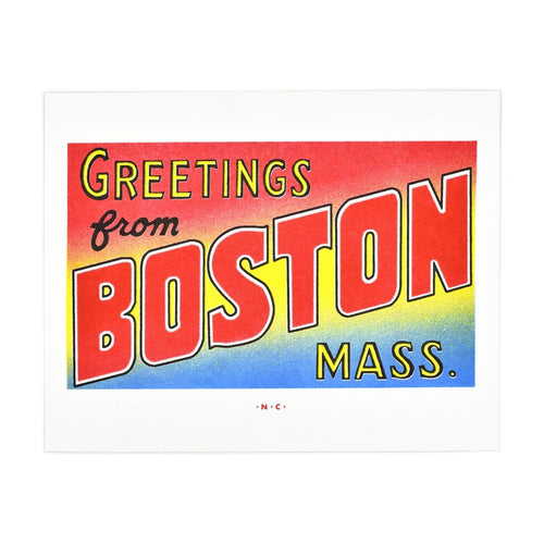 Greetings from: Boston, Massachusetts Risograph Print - Next Chapter Studio