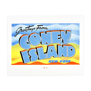 Greetings from: Coney Island, New York Risograph Print - Next Chapter Studio