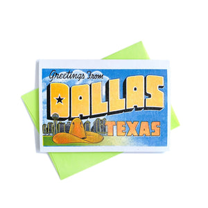 Greetings from: Dallas, Texas - Risograph Card - Next Chapter Studio