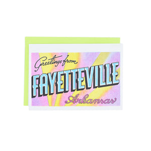 Greetings from: Fayetteville, Arkansas Risograph Card - Next Chapter Studio