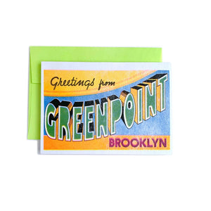 Greetings from: Greenpoint, Brooklyn - Risograph Card - Next Chapter Studio
