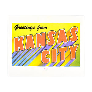Greetings from: Kansas City, Missouri Risograph Print - Next Chapter Studio