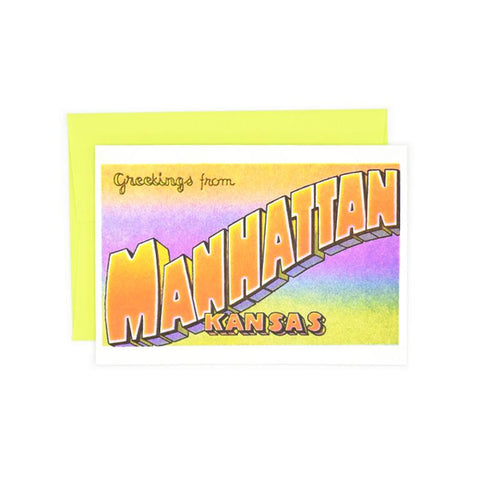 Greetings from: Manhattan, Kansas Risograph Card - Next Chapter Studio