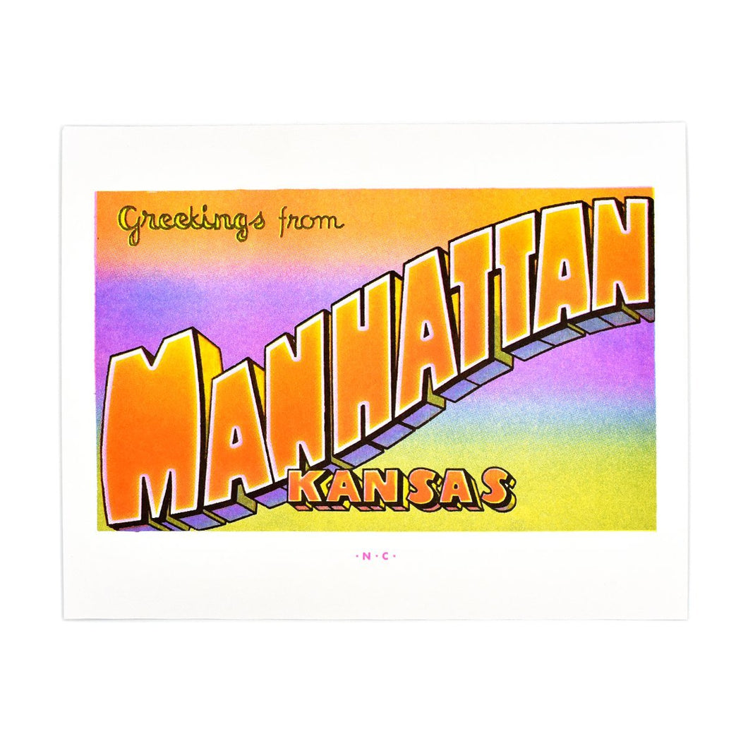 Greetings from: Manhattan, Kansas Risograph Print - Next Chapter Studio