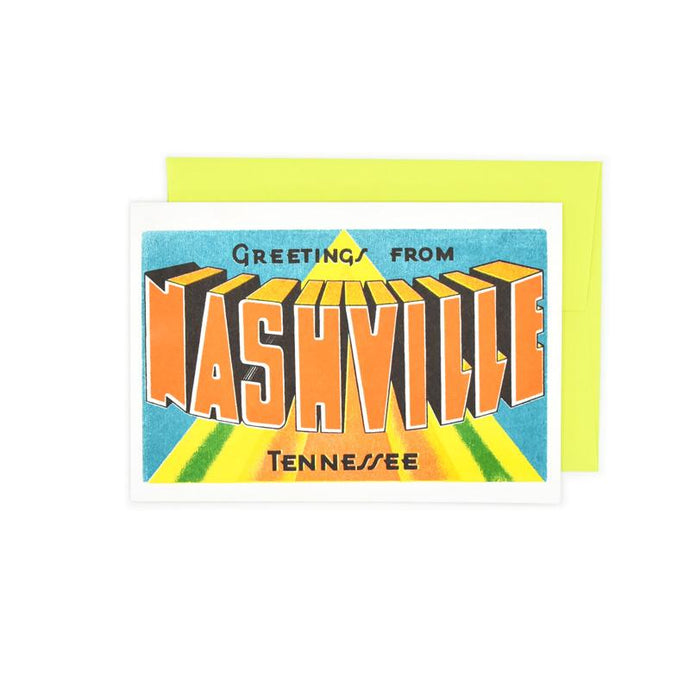 Greetings from: Nashville, Tennessee Risograph Card - Next Chapter Studio