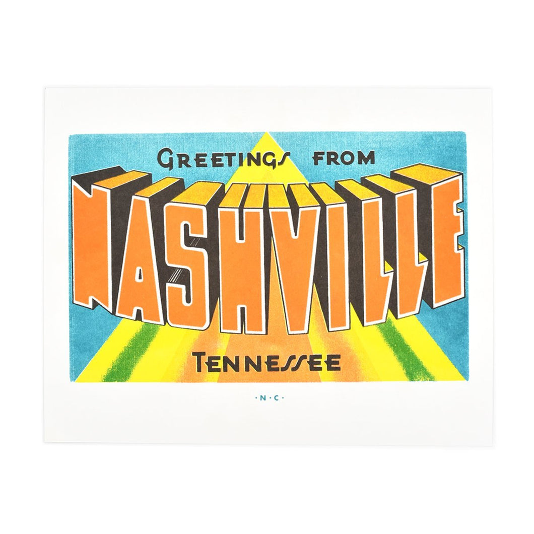 Greetings from: Nashville, Tennessee Risograph Print - Next Chapter Studio