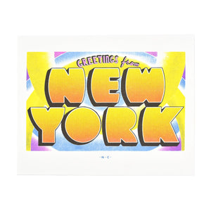 Greetings from: New York, New York Risograph Print - Next Chapter Studio
