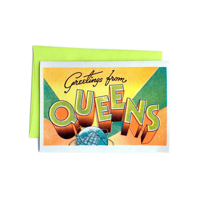 Greetings from: Queens, NY - Risograph Card - Next Chapter Studio