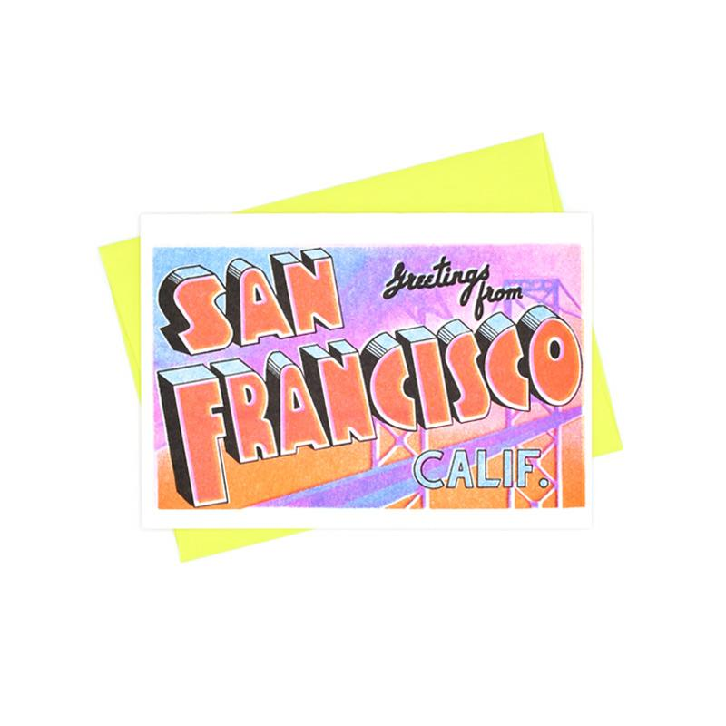 Greetings from: San Francisco, California Risograph Card - Next Chapter Studio