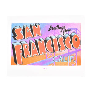 Greetings from: San Francisco, California Risograph Print - Next Chapter Studio