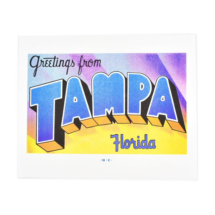 Greetings from: Tampa, Florida Risograph Print - Next Chapter Studio