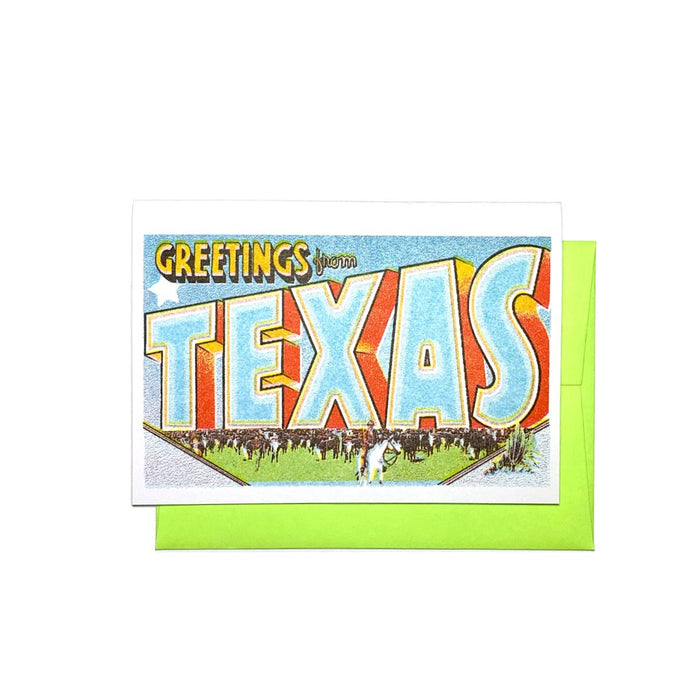 Greetings from: Texas - Risograph Card - Next Chapter Studio