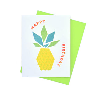 """Happy Birthday"" Pineapple - Risograph Greeting Card by Kapo Ng - Next Chapter Studio"