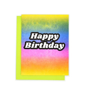 """Happy Birthday"" Rainbow Gradient Risograph Card - Next Chapter Studio"