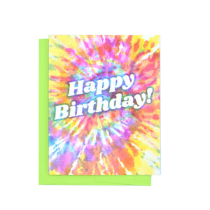 Happy Birthday - Tie Dye Risograph Greeting Card - Next Chapter Studio