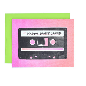 """Happy Dance Jams"" Cassette - Risograph Greeting Card - Next Chapter Studio"