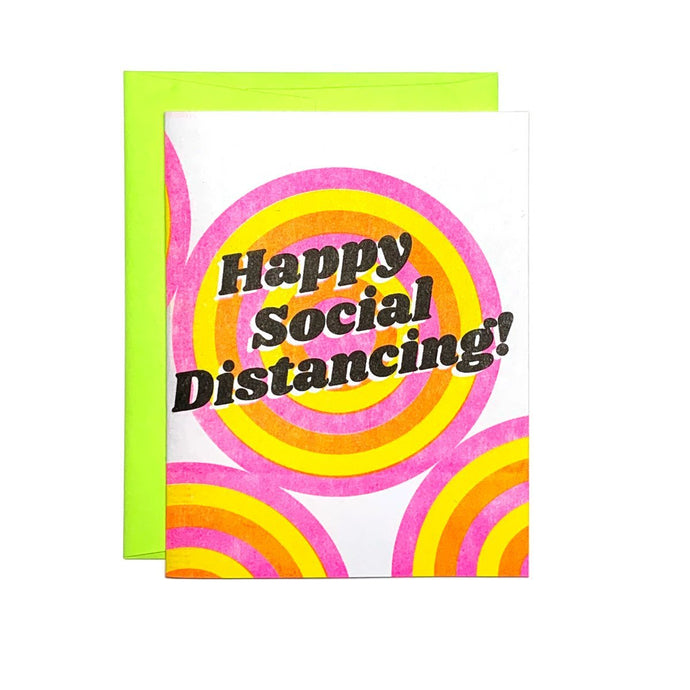 Happy Social Distancing! - Risograph Greeting Card - Next Chapter Studio