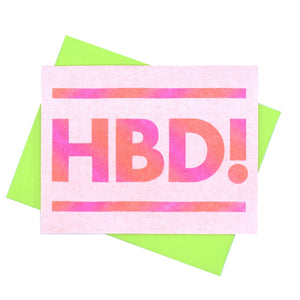 """HBD"" - Neon Happy Birthday Risograph Greeting Card - Next Chapter Studio"