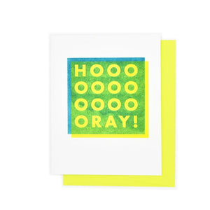 """HOOOOOOOOOOOORAY"" Shapes Greeting - Risograph Card - Next Chapter Studio"