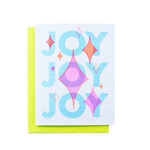 """Joy Joy Joy"" - Retro Holiday Risograph Greeting Card - Next Chapter Studio"