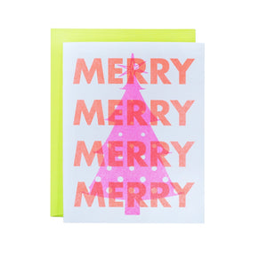 Merry Pink Tree - Neon Christmas Risograph Greeting Card - Next Chapter Studio