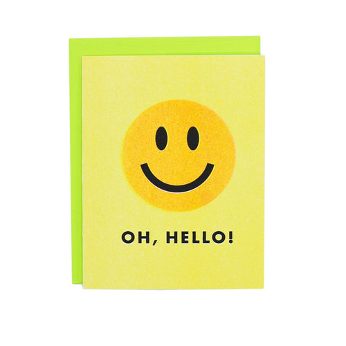 Oh, Hello! Smiley Face Card - Risograph Greeting Card - Next Chapter Studio
