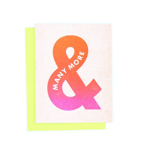 "Punctuation ""And Many More"" Ampersand Happy Birthday Risograph Greetings Card - Next Chapter Studio"