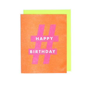 "Punctuation ""Happy Birthday"" Hashtag Risograph Greetings Card - Next Chapter Studio"