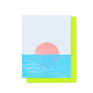 Sunset on the River - Risograph Greeting Card - Next Chapter Studio