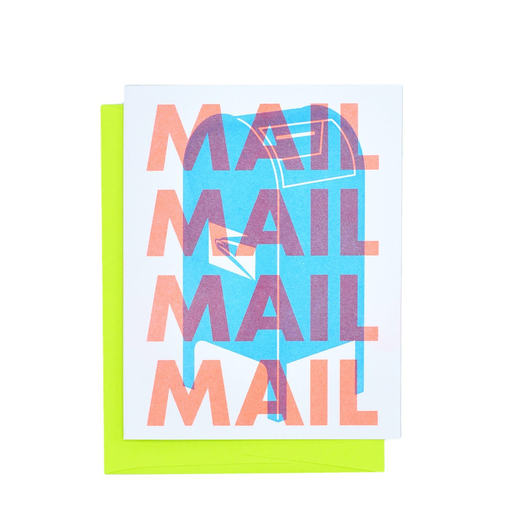 Support the USPS, MAIL MAIL MAIL - Risograph Greeting Card - Next Chapter Studio