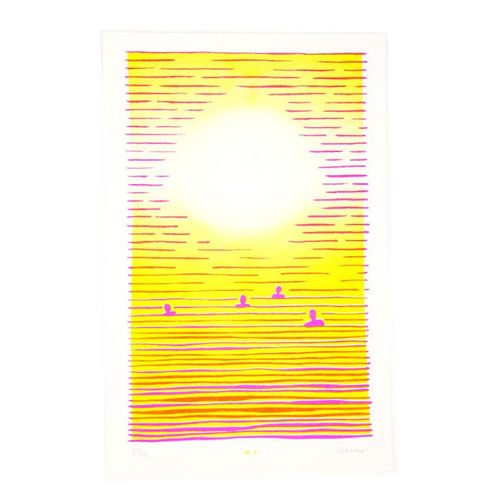 Swimmer's Sunset - Risograph Print - Next Chapter Studio