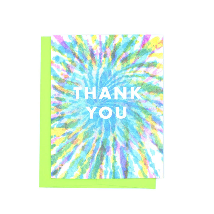 Thank You - Tie Dye Risograph Greeting Card - Next Chapter Studio