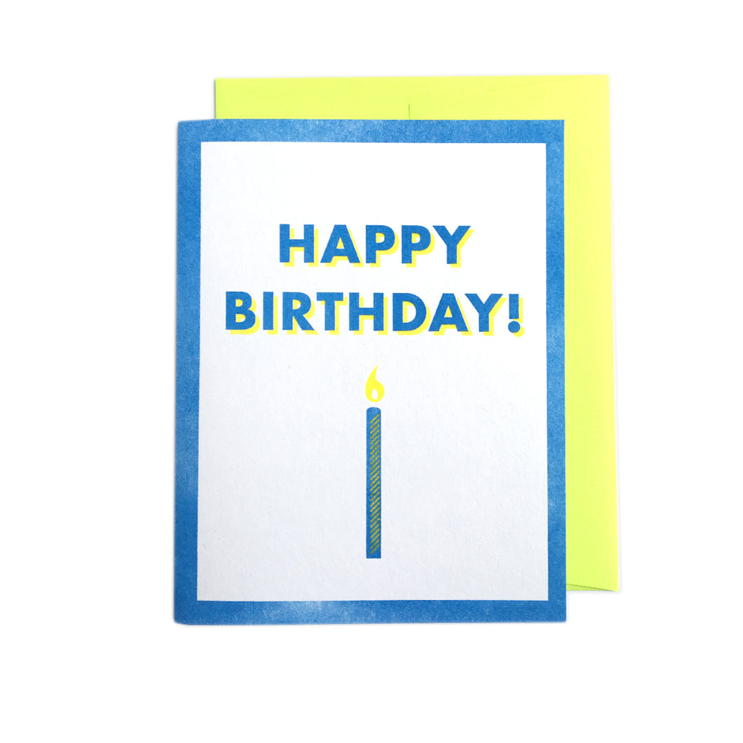 Happy Birthday Candle - Risograph Greeting Card