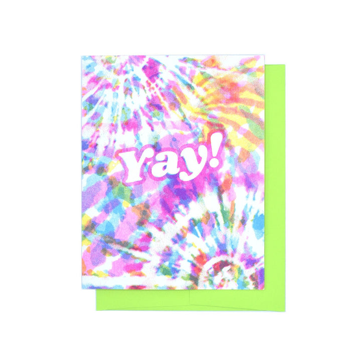 Yay - Tie Dye Risograph Greeting Card - Next Chapter Studio